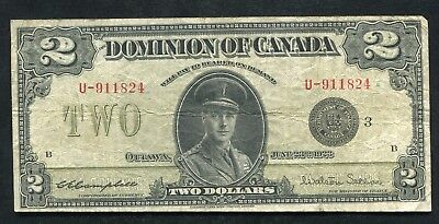 """DC-26j 1923 $2 TWO DOLLARS DOMINION OF CANADA BANKNOTE """"BLACK SEAL"""" VERY FINE"""