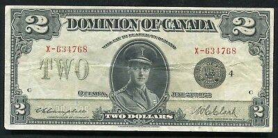 """DC-26l 1923 $2 TWO DOLLARS DOMINION OF CANADA BANKNOTE """"BLACK SEAL"""" VERY FINE+"""