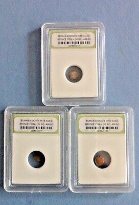Slabbed lot of 3 Ancient Roman widows mite sized Bronze Coin 50 BC 400 AD