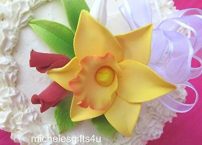 Gum Paste Sugar Yellow Orchid Red Rosebuds Leaves & Ribbon Cake Flowers