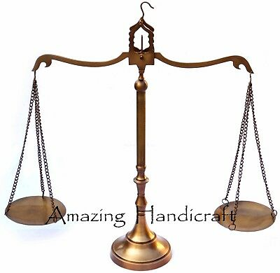 "Vintage Messing Waage 23"" Antike Statue Gleichgewicht Justice Lawyer Brass Scale"