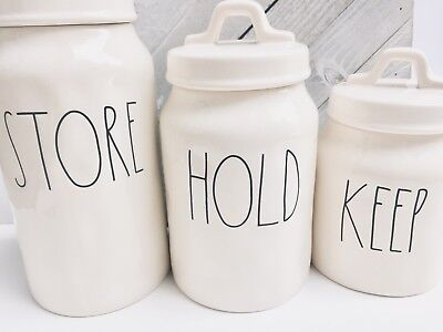 Rae Dunn HOLD STORE KEEP Canisters LL Letters Hard To Find