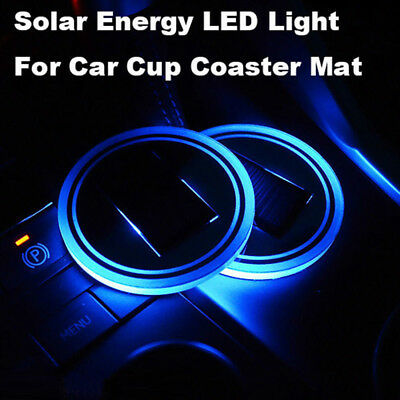 2x Solar Cup Pad Car accessories LED Light Cover Interior Decoration Lights Lamp