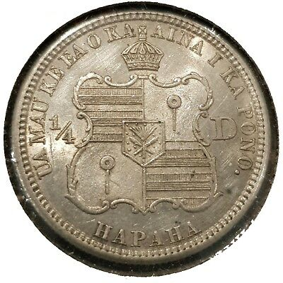 1883 Hawaii 1/4 Quarter Dollar (HAPAHA) KM#5 VF/EF