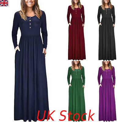 UK Womens Ladies Long Jersey Summer Long Sleeve Slim Maxi Dress Casual Sundress