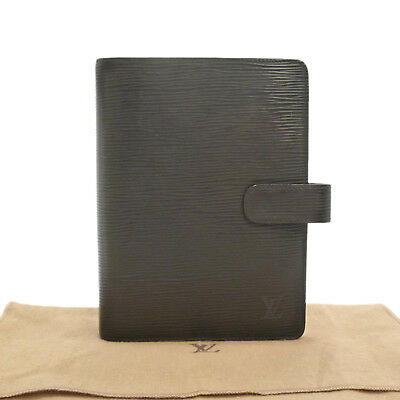 Auth LOUIS VUITTON Epi Agenda MM Day Planner Cover Black Leather R20042 #S161267