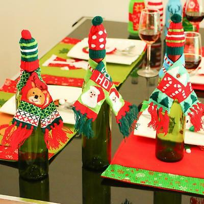 Wine Bottle Cover Bag Christmas Sweater Knitted Hat Decor Gift Tree Xmas Bar