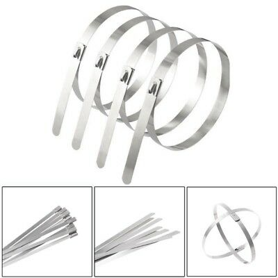 Steel Metal Cable Ties Tie Zip Wrap Exhaust Heat Straps Induction Pipe