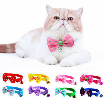 Pet Bowknot Necktie Collar Kitten Cat Puppy Dog Cute Bow Tie Bell Adjustable 1Pc