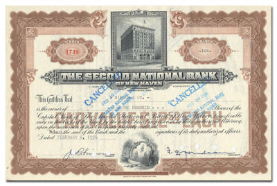 Second National Bank of New Haven Stock Certificate
