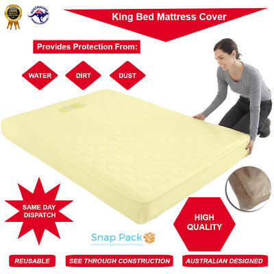 2 x Bed Plastic Mattress Protector SINGLE, QUEEN, KING Covers Moving Storage Bag