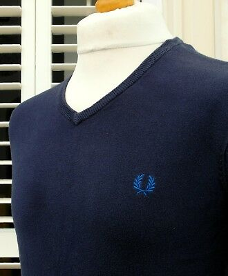 Fred Perry Navy Knitted V-Neck Jumper - S/M - Ska Mod Scooter Casuals Skins