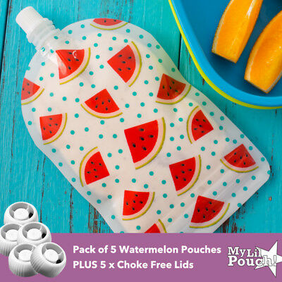 My Lil Pouch 5x 140ml Watermelon Top Spout Reusable Food Pouch +5x ChokeFreeLids