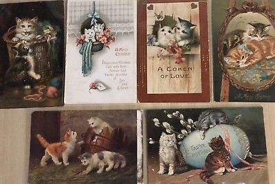 Lot of 6 Vintage Postcards with Cute Kitty Cats Kittens Cat post cards-c36