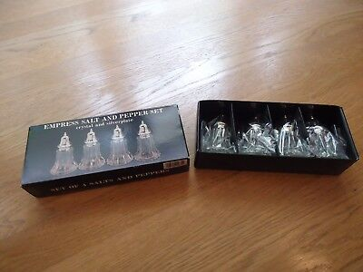 Empress Salt and Pepper Set Crystal & Silverplated (Set of 4) -- NEW in Box!