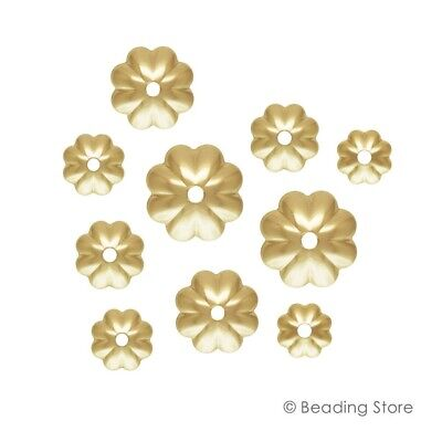 6 or 50 14ct Yellow Gold Filled 4mm or 4.5mm Bead Caps Flower Fluted Cap