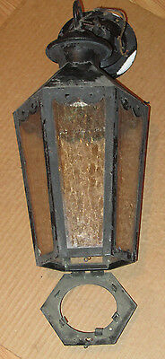 Vintage 1950s Gothic Pendant Light Brass Textured Glass Novelty Litg Corp. OH