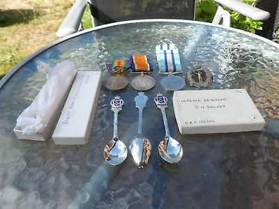 royal observer corps medal+2 ww1  medals to delves family badge +prizes shooting
