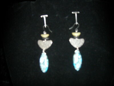 Chicos Earrings Hammered Silver w/Turq. Black White Stone Drop Earrings