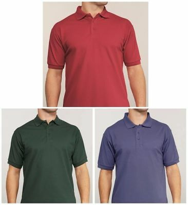 Mens Plain Polycotton Pique Polo Shirt Ribbed Collar T-Shirts Casual Top Golf