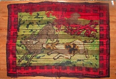 "Vintage Horse Hair Carriage Lap Blanket - 61"" x 44"" - Hunt Scene with Glass Eyes"