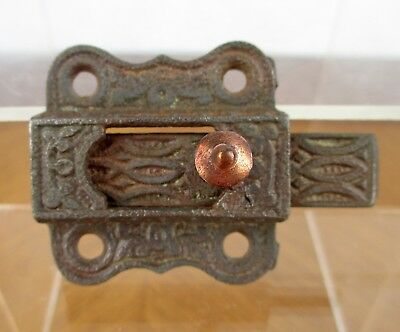 Vintage Small Weathered Iron Metal Eastlake Cabinet Window Slide Latch