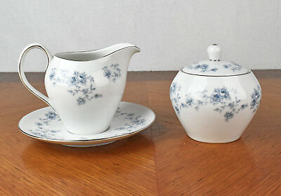Vintage Johann Haviland Bavaria Germany Blue Garland Creamer and Sugar Bowl Set