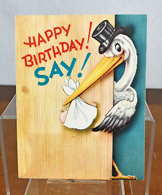 VTG Birthday Card Paper Ephemera 1940s Stork Top Hat Baby Patriotic America USA