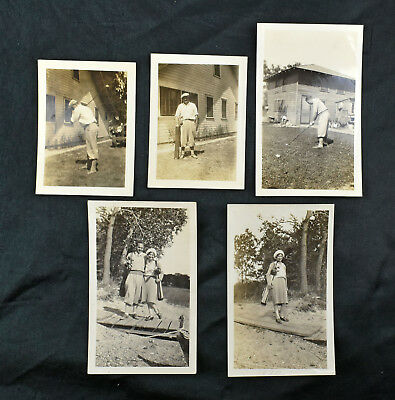 Lot of Five VTG Antique Photo Snapshot Photograph 1930 Man Woman Playing Golf