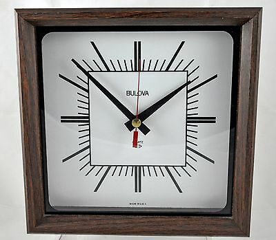 Vintage Square Wooden Bulova Quartz Clock - Made in USA - Use For Wall or Mantel