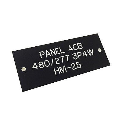 "1.25x3"" - Custom Engraved Electrical ID Plate Panel Matte Black - Up to 3 Lines"
