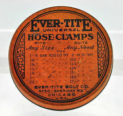 Vintage Ever Tite Universal Hose Clamps Tin - Collectable Garage Advertising