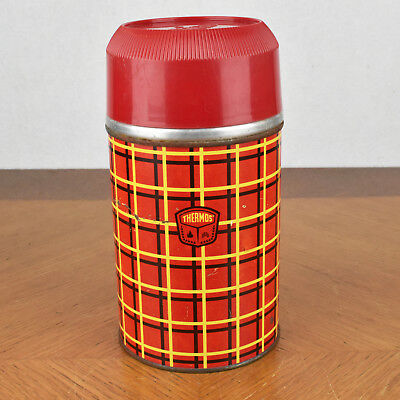 Vintage Thermos Bottle One Pint W/ Cup Stopper 5254 Glass Lined Made USA Plaid