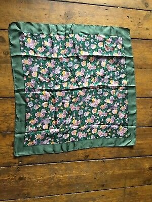 Vintage Liberty Of London Silk Scarf Green floral ditsy pretty England