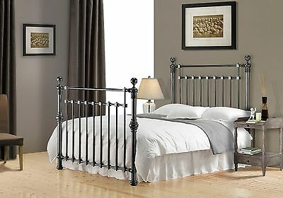 Edward Black Nickel Metal Bed Frame Victorian Antique Double King Superking