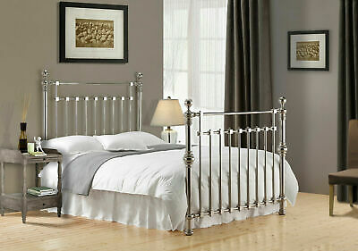 Edward Chrome Nickel Metal Bed Frame Victorian Antique Double King Superking