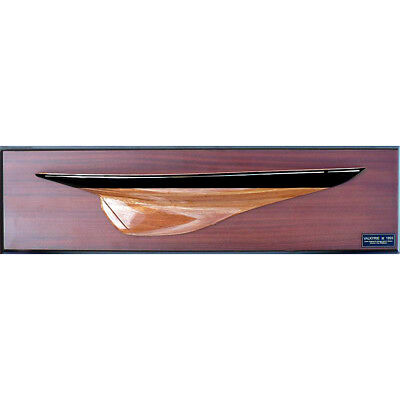 "Half Hull Americas Cup Valkyrie II 1893 Wooden Model Yacht 24"" Abordage New"