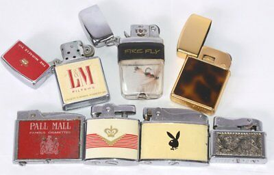 Lot of 7 Collector Lighters Rogers GoldPlated Octagon Continental Symbol FireFly