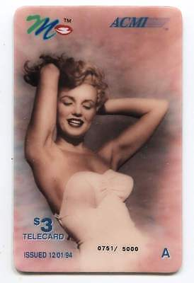 1994 Marilyn Monroe Calling Card ACMI Telecard - Issue of 5,000 $3.00 Cards