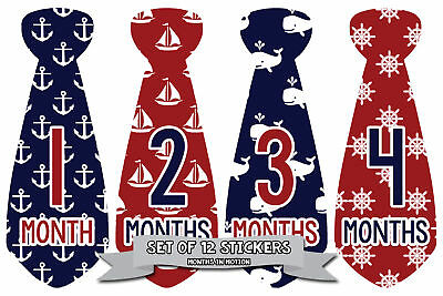MONTHS IN MOTION Monthly Baby Sticker Tie Necktie BOY Milestone Month Photo Prop