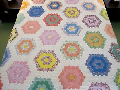 Vintage Hand Pieced Feed Sack, Other Cottons FLOWER GARDEN Quilt TOP, Needs TLC!