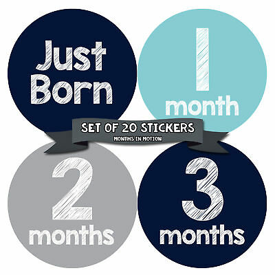 MONTHS IN MOTION Monthly Newborn Baby BOY Milestone Stickers DELUXE SET