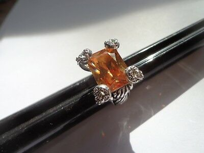 Vintage 90's Champagne Cz High End Ring Size 4.5 Tons Of Bling!