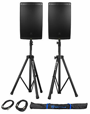"""2 JBL EON615 15"""" 2000w Powered DJ PA Speakers w/Bluetooth App Ctrl+Stands+Cables"""