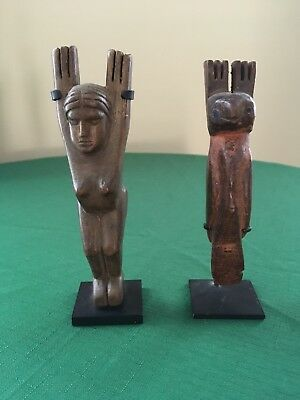 Antique Handcrafted Guatemalan Folk Art Woodcarving Slingshots - Pair