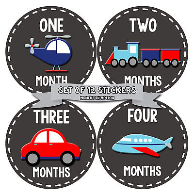 MONTHS IN MOTION Monthly Newborn Baby BOY Milestone Stickers Photo Prop