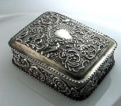 Antique Victorian Sterling Silver Repousse Birds Foliage Box Hinged London 1892
