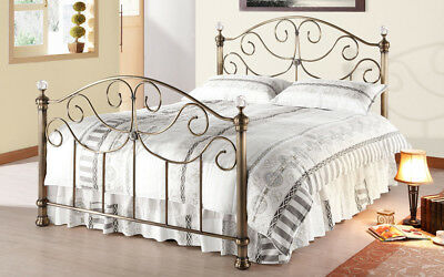 Victoria Antique Brass Metal Bed Frame Crystal Finials In 4FT6 Double Size