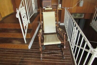 Antique Jas. Schoolbred & Co. Solid Wood Spindle Style Spring Rocking Chair#1764