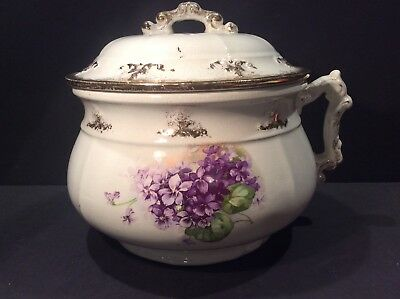 Antique Chamber Pot Commode w/lid Flowers Gold fired Beautiful!